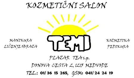 KOZMETIČNI SALON TEMI, TEA PLAZAR BURJA S.P., MEDVODE