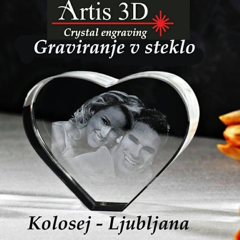 ARTIS 3D, 2D-3D GLOBINSKO LASERSKO GRAVIRANJE V STEKLO, SUBLIMACIJSKI TISK NA SKODELICE, LJUBLJANA